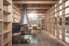 Timber Grids: 10 Projects Exploring Craft and Construction - Architizer Interior Architecture, Interior And Exterior, Interior Design, Wind Pictures, Compact House, Timber Structure, Weekend House, Simple Furniture, Meditation Space
