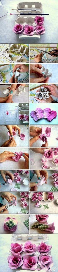 DIY hacer flores con cartones de huevos                              …                                                                                                                                                     Más