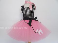 50's Poodle Dress Pink Poodle tutu dress Sock by AmericanBlossoms