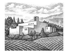 Sterling Vineyards Label Illustrated by Steven Noble by Steven Noble, via Behance