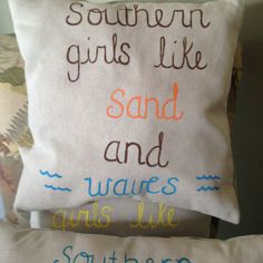 I wish i had a beach house for this!!    Adorable hand painted pillow www.etsy.com/shop/pearlybirddesigns