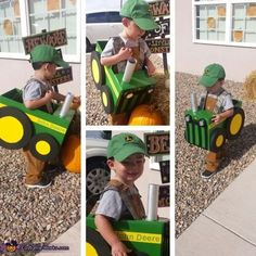 Lucas: This is my son Lucas his costume is inspired by his love for tractors. I used a diaper box for the body, Styrofoam for the wheels, felt for decals, a...