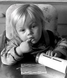 Little Leonardo Di Caprio, already wondering if he'll ever win an Oscar.  Yes, it's really him.