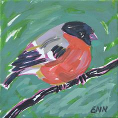 Original oil bird painting / Bullfinch / by NielsenDenmark on Etsy