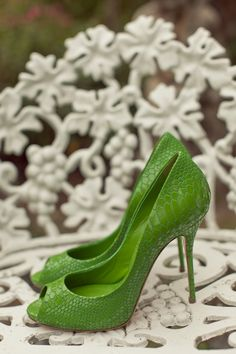 green wedding heels by Casadei