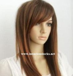 Austin // Long Straight Brown Wig with Red Highlights by ginabarto, $59.00
