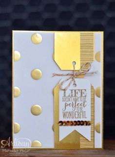 Perfect Pennants, Scalloped Tag Topper punch, Fancy Foil vellum -- Creations by Mercedes: Artisan Wednesday Wow