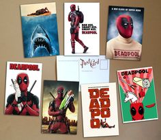 Deadpool 7 postcards poster retro pop art от PaperBunnyWorkshop #postcards #geek #art #sale #buy #poster #prints #photo #paintings