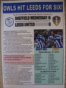 SHEFFIELD WEDNESDAY 6 LEEDS UNITED 0 - 2014 - SOUVENIR PRINT
