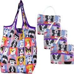 Puppy Portrait Compact Shopping Bags - Set of 3 at The Animal Rescue Site