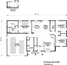 The Ross, Plan 1654 | 1,654 sq ft | 3 bedroom | 2 bath Square Feet, Great Rooms, Ranch, Floor Plans, Flooring, How To Plan, Bedroom, Home, Guest Ranch