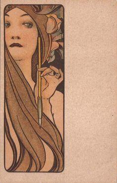 An Alphonse Mucha favorite Art Nouveau Mucha, Alphonse Mucha Art, Art Nouveau Poster, Art Deco Posters, Art Nouveau Design, Art Nouveau Tattoo, Tattoo Posters, Illustrator, Illustration Art Nouveau