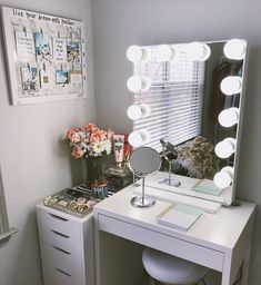 Cute vanity set up perfect for small places. I purchased the mirror from Impressions Vanity and the desk and drawers from IKEA Cute vanity set up perfect for small places. I purchased the mirror from Impressions Vanity and the desk and drawers from IKEA Vanity Set Up, Makeup Table Vanity, Vanity Room, Vanity Desk, Vanity Tables, Small Bedroom Vanity, Diy Vanity, Bedroom Vanities, Makeup Tables