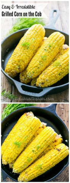 This grilled corn on the cob is juicy and tender. The flavored butter makes it irresistible! @NatashasKitchen
