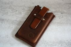 Handmade leather iPhone case, hand cut and hand sewn phone case, leather phone case