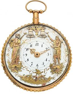 Swiss, Gold Quarter Hour Repeater With Two Motion Automaton, circa 1830 Silver Pocket Watch, 14k Gold Chain, Pearl Set, Price Guide, Swirl Pattern, Star Designs, My Heritage, White Enamel, Mother And Child