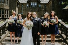 """bridesmaids in navy / bride in Christos """"Hayden,"""" from Something White / photo by Aster & Olive / Real Wedding: Amy & Gregory's Modern Whimsical Cleveland Wedding"""