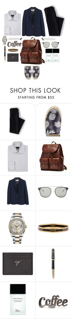 """Aesthetics"" by citresque ❤ liked on Polyvore featuring Lands' End, Valentino, Ermenegildo Zegna, Ghurka, Mulberry, Dior Homme, Rolex, Hermès, Giuseppe Zanotti and Parker"