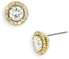 Round Cubic Zirconia Stud Earrings - Lyst
