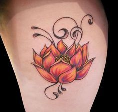 Tricolored lotus flower tattoo - No sure which part of the body this is, but I love the shading and the colors combined for this tattoo #TattooModels #tattoo