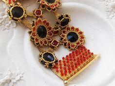 Swarovski Bracelet Jewelry handcrafted handmade Black and Red Swarovski Crystal and Seed Beads Gold Rhinestone Bracelet, Beaded Bracelet