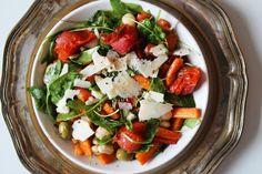 happyfoodstories: Lun salat m. hvite bønner, ovnsbakte gulrøtter, soltørket tomat & permesan