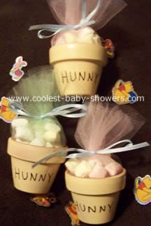winnie the pooh bear baby shower decorations | For party favors I took little terracotta pots and painted them to ...