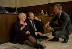 "sidney98: "" 007 Judi Dench, Rory Kinnear and Daniel Craig share a lighter moment during the shooting of SKYFALL (2012). #bts #JamesBond #007 """