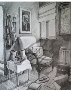 Home Decoration Design Ideas Space Drawings, Pencil Art Drawings, Art Drawings Sketches, Drawing Interior, Interior Design Sketches, Perspective Drawing Lessons, Black And White Drawing, Decoration Design, Home Art
