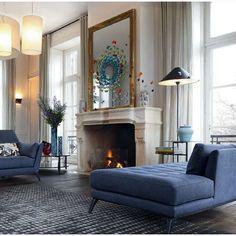 #interior #interiorforyou #marble #marblefireplace #lounge #blue #highwindows #longcurtains #stylemix #nyahemmet