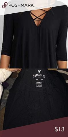"""""""Soft and Sexy"""" Shirt Black, lace up, AEO Soft and Sexy shirt, worn a handful of times, but in great shape! Bundle with same top in burgundy for 20$ American Eagle Outfitters Tops Tees - Short Sleeve"""