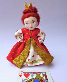 The Fairies Nest - OOAK Cloth Dolls & Fiber Fantasies: The Queen of Hearts, Alice in Wonderland miniature art doll