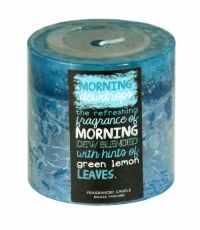 SIL LAYERED BLUE SCENTED CANDLE 7 X 7CM MORNING DEWDROPS Green Leaves, Scented Candles, Coffee Cans, Health And Beauty, Household, Layers, Fragrance, Blue, Layering