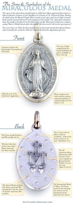 Story and symbolism of the Miraculous Medal via Hannah Magrum / My friend Karen is very devoted to Our Lady. She has had a heart attack and is very ill. Please pray for her. Catholic Religion, Catholic Saints, Catholic Medals, Roman Catholic Prayers, Catholic Theology, Bible Prayers, Blessed Mother Mary, Blessed Virgin Mary, Image Jesus