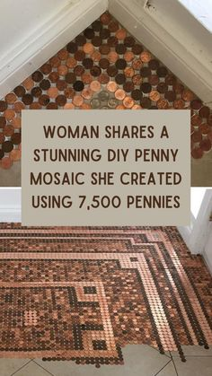 This Woman Shares A Stunning DIY Penny Mosaic She Created Using 7,500 Pennies Teen Bedroom Crafts, Good Jokes, Home Hacks, Diy On A Budget, Wonders Of The World, Home Projects, Diy And Crafts, Easy Crafts, Decor Styles