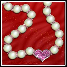 Pink Heart Diamond Pearl Necklace