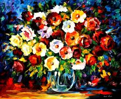 FIORI di amore-tavolozza coltello pittura a olio su tela di Leonid Afremov