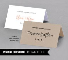Wedding Place Card Template, Table Number, Name Card, Seating Card, Printable File, Instant Download, Editable Text, PDF, Digital Download