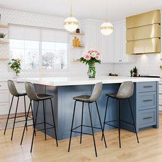 Consider Installing Kitchen Islands To Go With Your Unique Kitchen Design – Home Dcorz Kitchen Stools, Ikea Kitchen, Counter Stools, Kitchen Dining, Kitchen Decor, Kitchen Ideas, Kitchen Bar Counter, Dining Room, Kitchen Cleaning