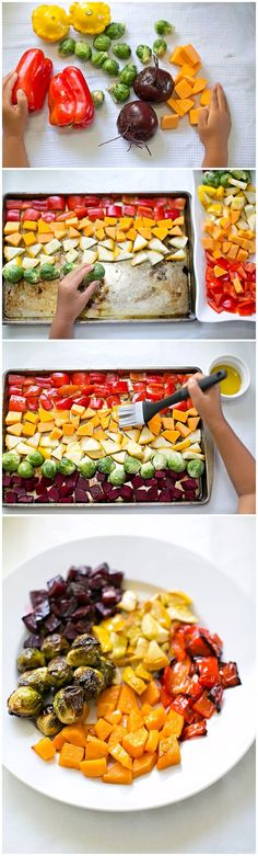 Rainbow roasted vegetables - a fun way to get kids to eat their veggies! #cookingwithkids