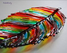 "Dish ""Feather"", Fused Glass Art, Fused Glass, Glass Art, Abstract Fused Glass, feather. by Kalashlinsky on Etsy https://www.etsy.com/listing/486929381/dish-feather-fused-glass-art-fused-glass"