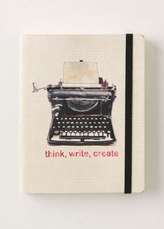 Think, write, create typewriter watercolour journal Journal Notebook, Art Journal Pages, Pocket Notebook, Notebook Sketches, Planner Journal, Writers Notebook, Planner Book, Diy Notebook, Journal Paper