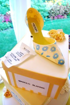 Many Shoes and Much Love - Now she can have her shoes and eat them too! Modeled after the birthday girl's own pair of Manolo Blahnik's, this...