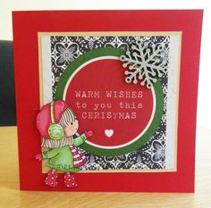 "These are some ""cute"" cards I've made using Penny Black transparent stamps called Winter friends . I've coloured them with promarkers and cut them out . I used red cards , I got 50 cards and envelopes for 2.99 in the sales . The papers are from Kaisar craft . The holly is a die from tattered lace and the glitter snowflakes are from Hobby craft ."