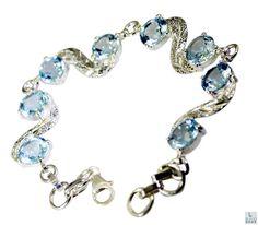 Blue Topaz Bracelet 925 sterling silver Bracelet Blue Topaz Silver Bracelet Valentines Gift Blue Bracelet Topaz Gemstone Bracelet by RiyoGems
