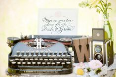Vintage 1940's wedding/party - guests give advice on a typewriter! Love!