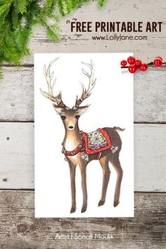 Free Christmas Reindeer Art - Lolly Jane na Stylowi. Christmas Love, Christmas Holidays, Christmas Decorations, Reindeer Christmas, Xmas, Christmas Ideas, Christmas Animals, Winter Holidays, Christmas Vignette