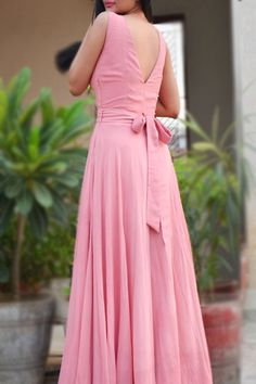 Double Flair Padded Long Dress - Buy this exclusive dress from ColorauctionPink Double Flair Padded Long Dress - Buy this exclusive dress from Colorauction Pink Double Flair Padded Long Dress - Women Pink Dresses Online Long Dress Design, Dress Neck Designs, Simple Gown Design, Long Gown Dress, Buy Dress, Pink Dress, Pink Formal Dresses, Prom Dresses, Ladies Dresses
