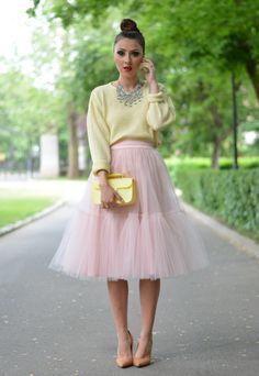 tutu skirt and pastel yellow sweater