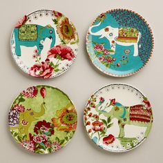 I love the whimsy and playfulness of these plates.Nomad Elephant Plates, Set of Cost Plus World Market is full of fabulous items this spring! Ceramic Plates, Ceramic Pottery, Decorative Plates, Ceramic Painting, Ceramic Art, Pottery Painting, Elephant Icon, Elephant Walk, Arte Fashion